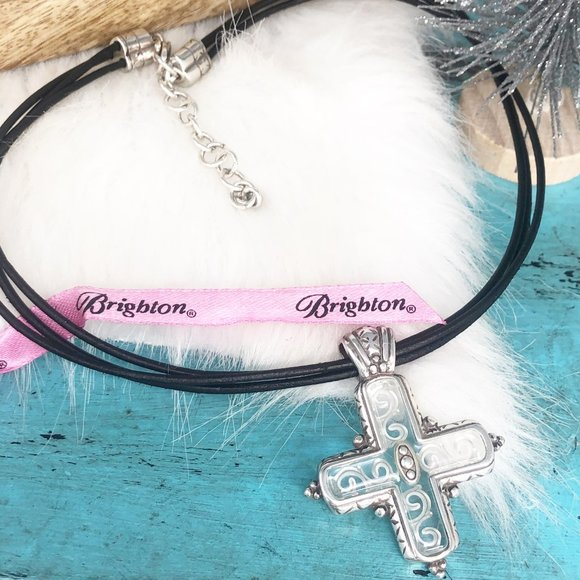 Brighton Clear Large Cross Silver Leather Necklace